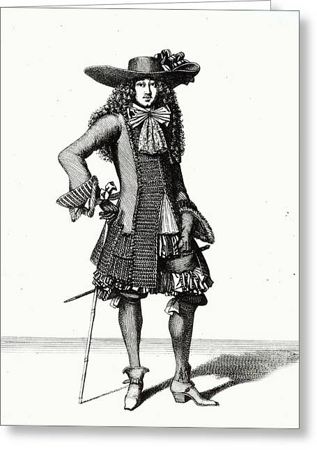 The Summer Sword Dress, 1675 Etching Bw Print Greeting Card by Bonnart