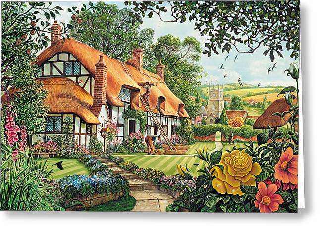 The Summer Thatchers Greeting Card by Steve Crisp