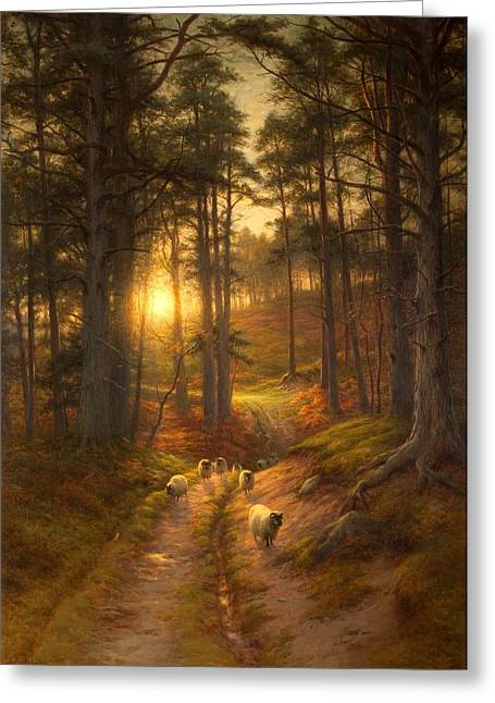 The Sun Fast Sinks In The West Greeting Card by Joseph Farquharson