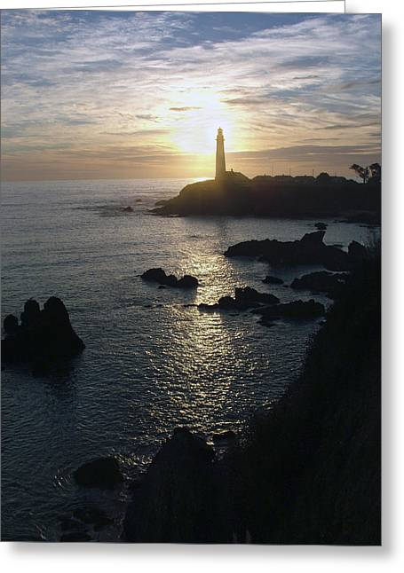 The Sun Is Setting Behind The Pigeon Point Light Station Near Ano Nuevo Greeting Card by Scott Lenhart