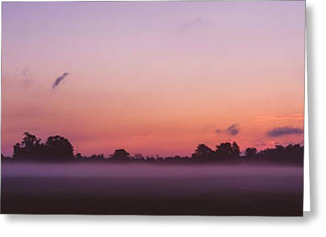 The Sun Rises Over A Misty Meadow Greeting Card by Chris Bordeleau