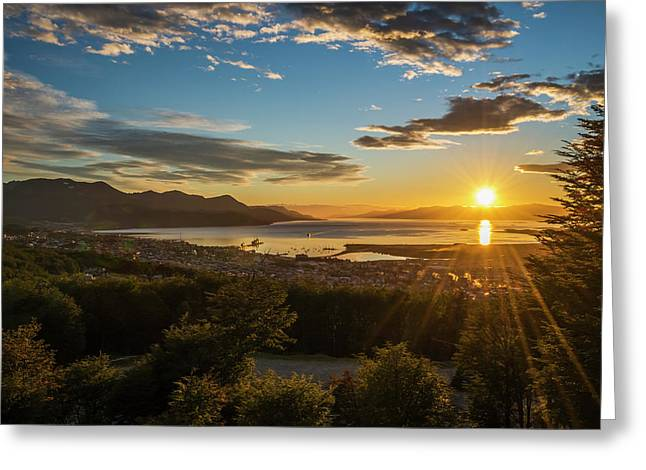 The Sun Rises Over The Port Of Ushuaia Greeting Card by Nick Dale