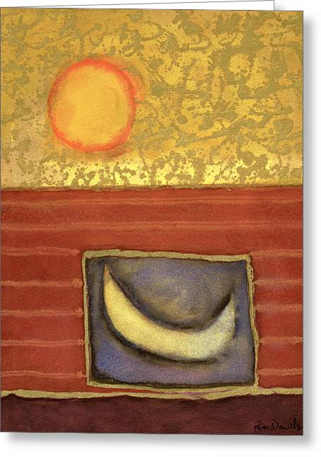 The Sun Rises While The Moon Sleeps, 1990 Mixed Media On Paper Greeting Card by Peter Davidson