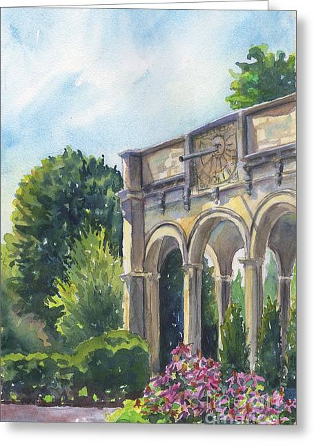 Greeting Card featuring the painting The Sundial by Susan Herbst