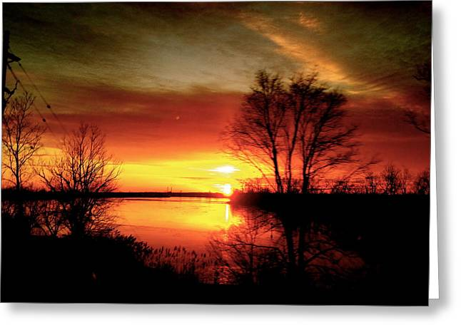 The Sunset Amherstburg On Greeting Card by Pretchill Smith