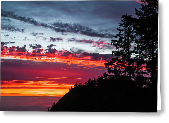 The Sunset At Oswald West State Park Greeting Card
