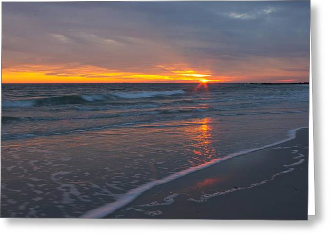 Greeting Card featuring the photograph The Sunset Kissing The Waves by Jose Oquendo