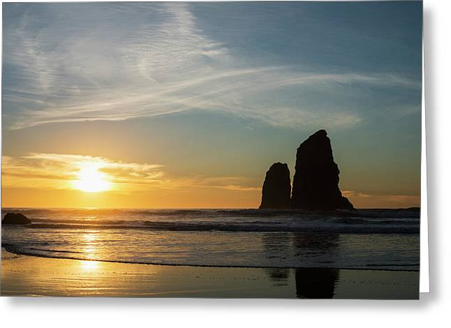 The Sunset With Silhouettes Of Rock Greeting Card