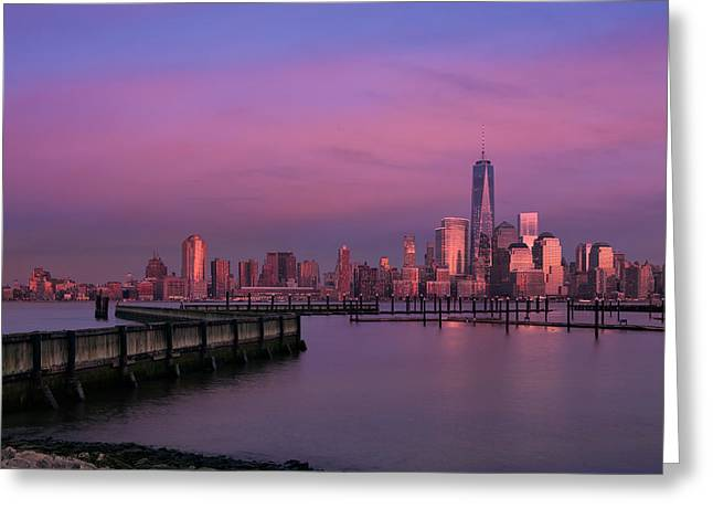 The Sunsets At One World Trade Center Greeting Card by Susan Candelario