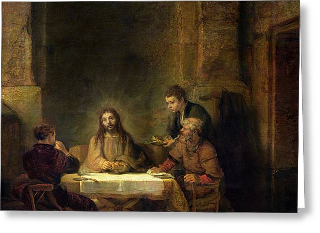 The Supper At Emmaus, 1648 Oil On Panel Greeting Card by Rembrandt Harmensz van Rijn