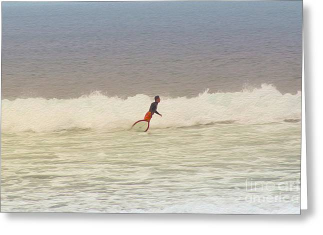 The Surfer Greeting Card by Nur Roy