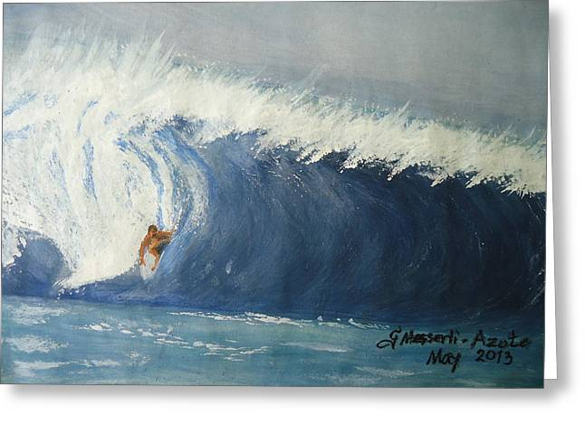 The Surfing Greeting Card by Fladelita Messerli-