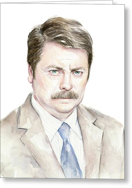 Ron Swanson Watercolor Portrait Greeting Card by Olga Shvartsur