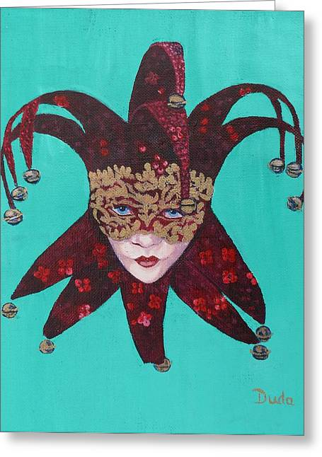 The Sweetheart Of Arlecchino Colombina Venitian Mask Greeting Card