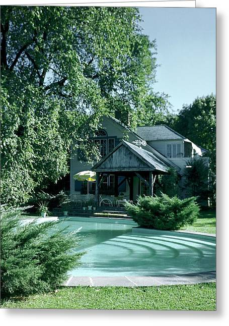 The Swimming Pool At The Farmhouse Of Prince Greeting Card by Andr? Kert?sz