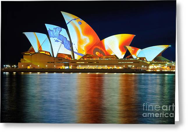The Sydney Opera House In Vivid Colour Greeting Card