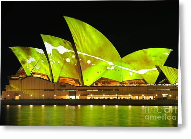 The Sydney Opera House In Vivid Green Greeting Card by David Hill