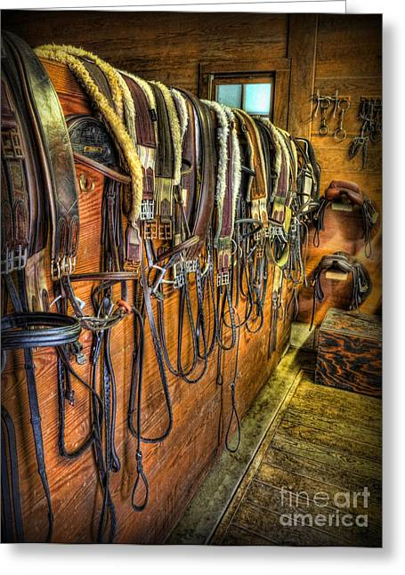 The Tack Room - Equestrian Greeting Card by Lee Dos Santos