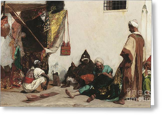 The Tailors Shop Greeting Card by Jean Joseph Benjamin Constant