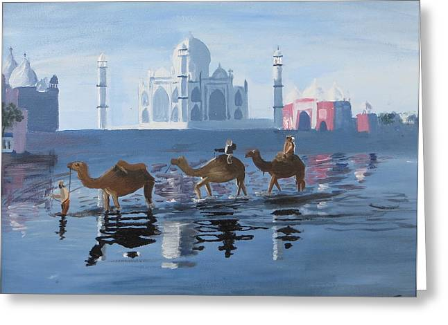 The Taj Mahal And The Yamuna River Greeting Card