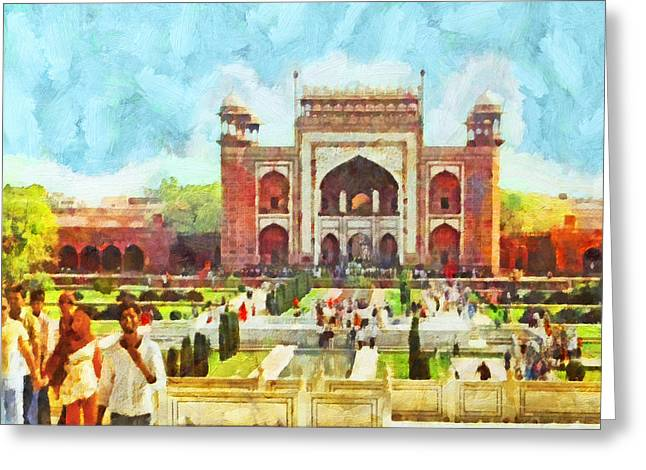 The Taj Mahal Gardens Greeting Card