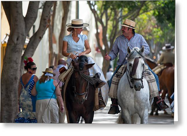 The Talk. Romeria In Torremolinos. Spain Greeting Card by Jenny Rainbow