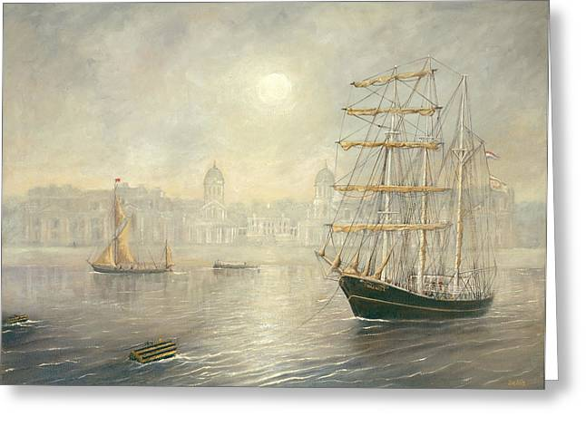 The Tall Ship Thalassa By The Old Royal Naval College Greenwich Greeting Card by Eric Bellis