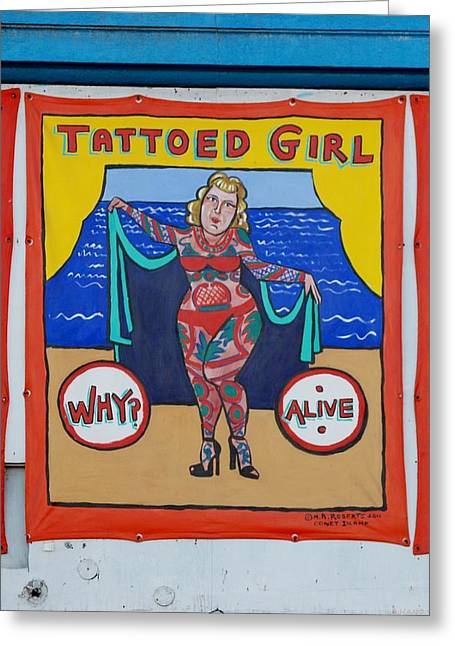 The Tattoed Girl Greeting Card by Rob Hans