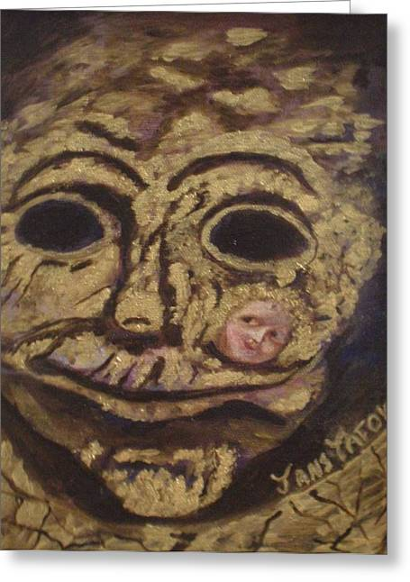 The Tattoed Mask Greeting Card by Janis  Tafoya