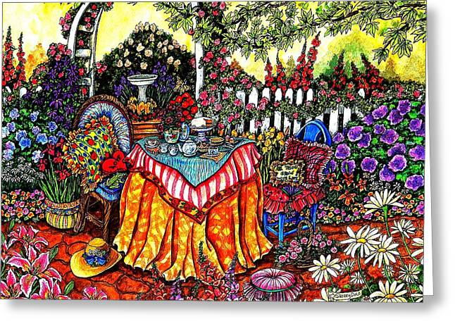 The Tea Party Greeting Card by Sherry Dole