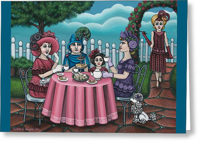 The Tea Party Greeting Card by Victoria De Almeida