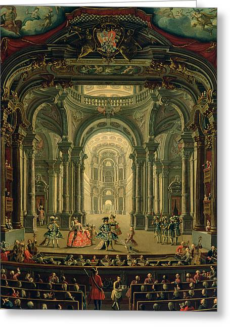 The Teatro Reale In Turin Greeting Card by Pietro Domenico Oliviero