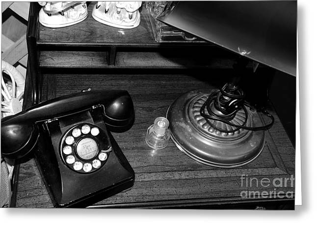 The Telephone Table - Black And White Greeting Card by Paul Ward