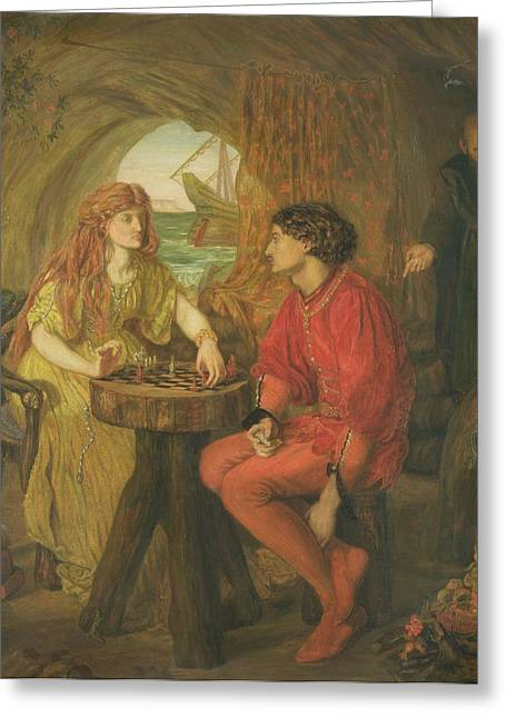 The Tempest Oil On Canvas Greeting Card by Lucy Madox Brown
