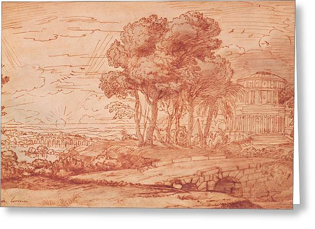 The Temple Of Apollo On The Island Of Delos, C.1648 Pen, Wash & Bistre Ink Greeting Card