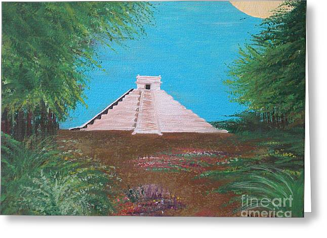 Greeting Card featuring the painting The Temple Of Kukulcan by Alys Caviness-Gober