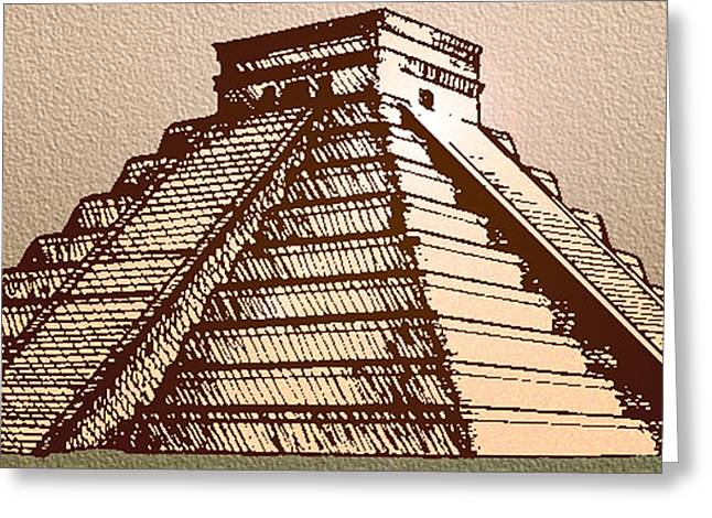 The Temple Of Kukulcan Chichen Itza   Greeting Card by Del Gaizo