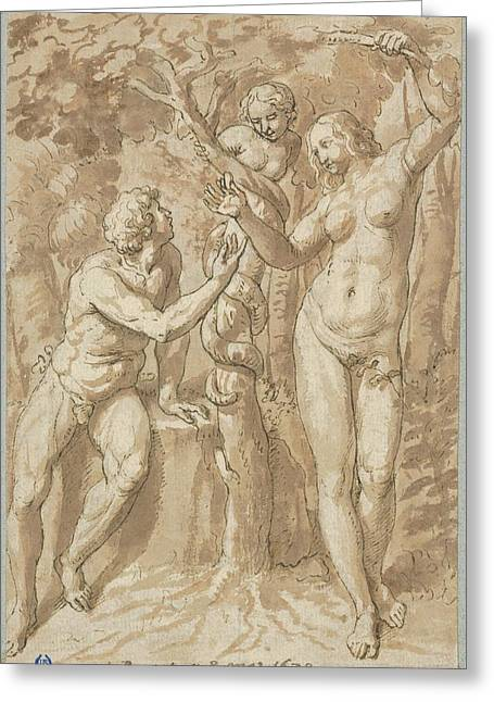 The Temptation Of Eve Greeting Card