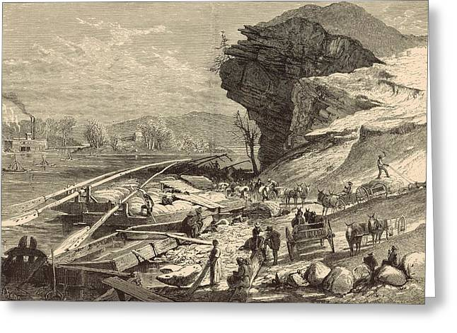 The Tennessee At Chattanooga 1872 Engraving Greeting Card by Antique Engravings