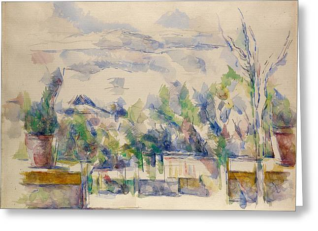 The Terrace At The Garden At Les Lauves Greeting Card by Paul Cezanne