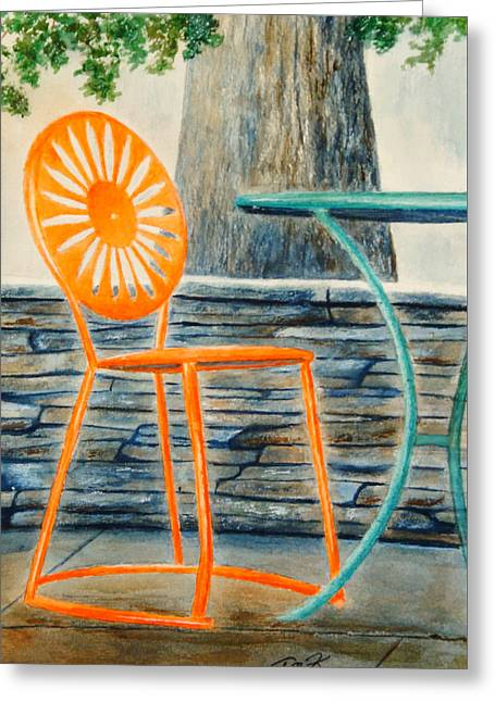 Greeting Card featuring the painting The Terrace Chair by Thomas Kuchenbecker