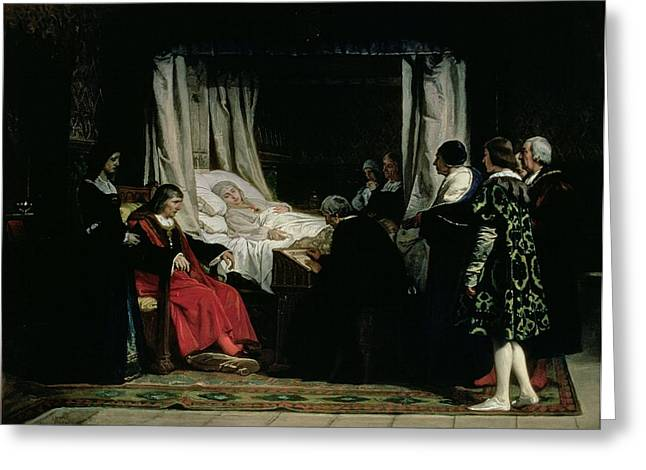 The Testament Of Queen Isabella The Catholic 1451-1504 1864 Oil On Canvas Greeting Card by Eduardo Rosales