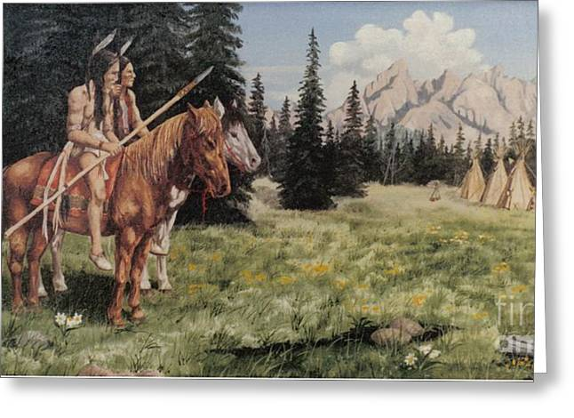 The Tetons Early Tribes Greeting Card by Wanda Dansereau