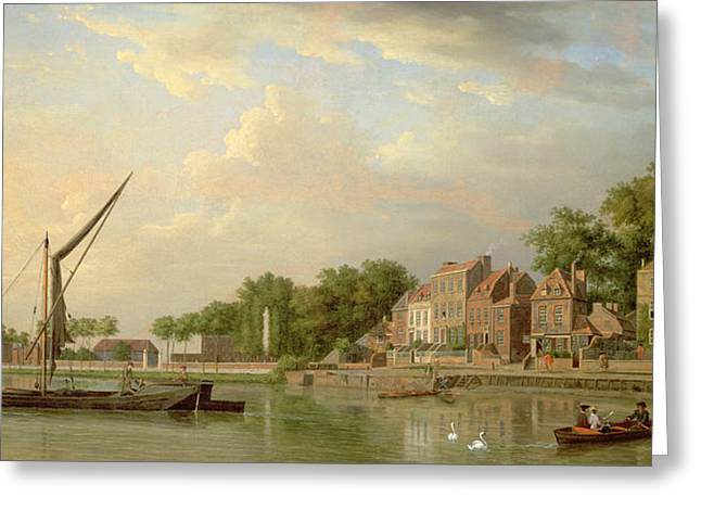 The Thames At Twickenham, 18th Century Greeting Card by Samuel Scott
