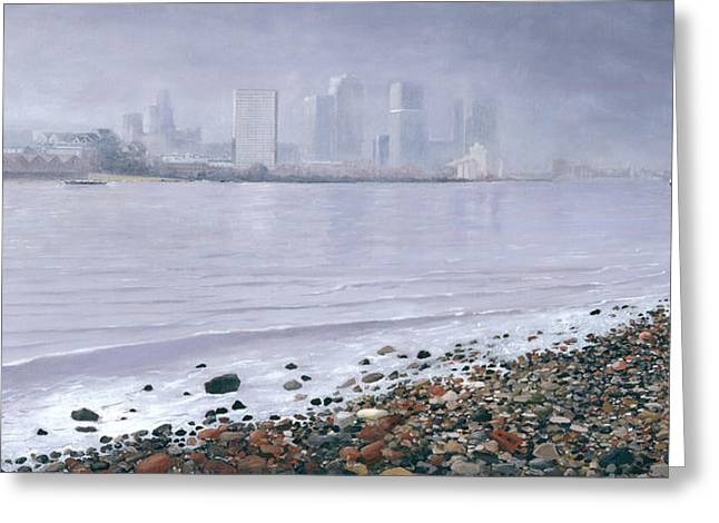 The Thames From Lowell's Wharf Greenwich  Greeting Card by Eric Bellis