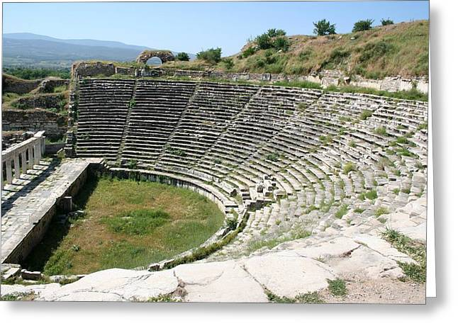 The Theater Aphrodisias Greeting Card by Tracey Harrington-Simpson