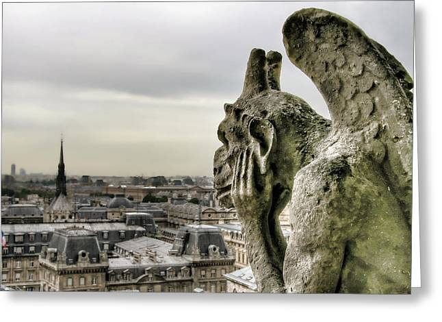 The Thinking Gargoyle Greeting Card by Brent Durken