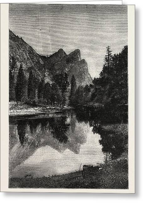 The Three Brothers, Yosemite Valley, Us, Usa Greeting Card by American School