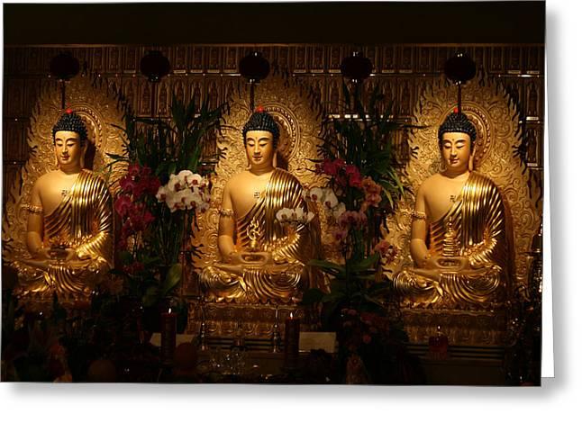 The Three Buddhas Greeting Card by Brian Davis