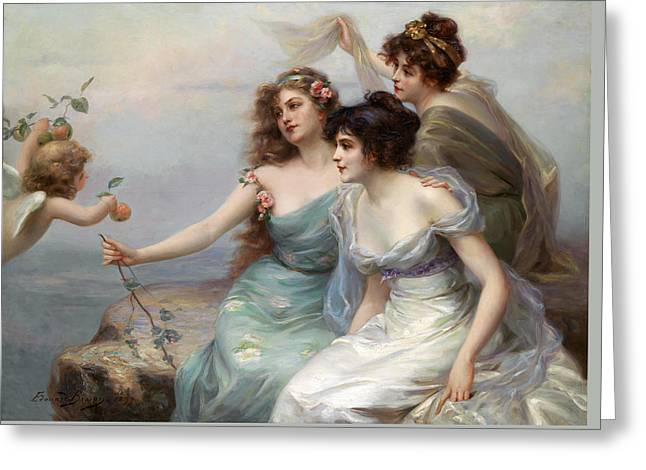 The Three Graces Greeting Card by Edouard Bisson